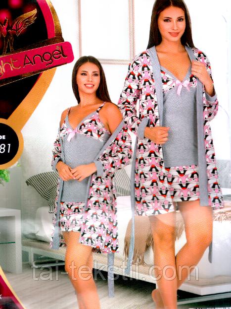 Комплект халат и ночная рубашка качество хлопок с лайкра №7781