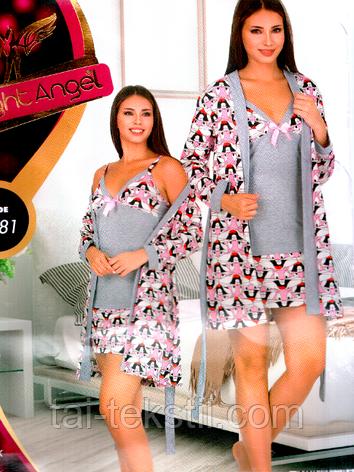 Комплект халат и ночная рубашка качество хлопок с лайкра №7781, фото 2