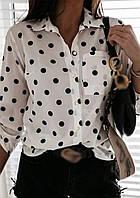 Белая рубашка в горох 021 В
