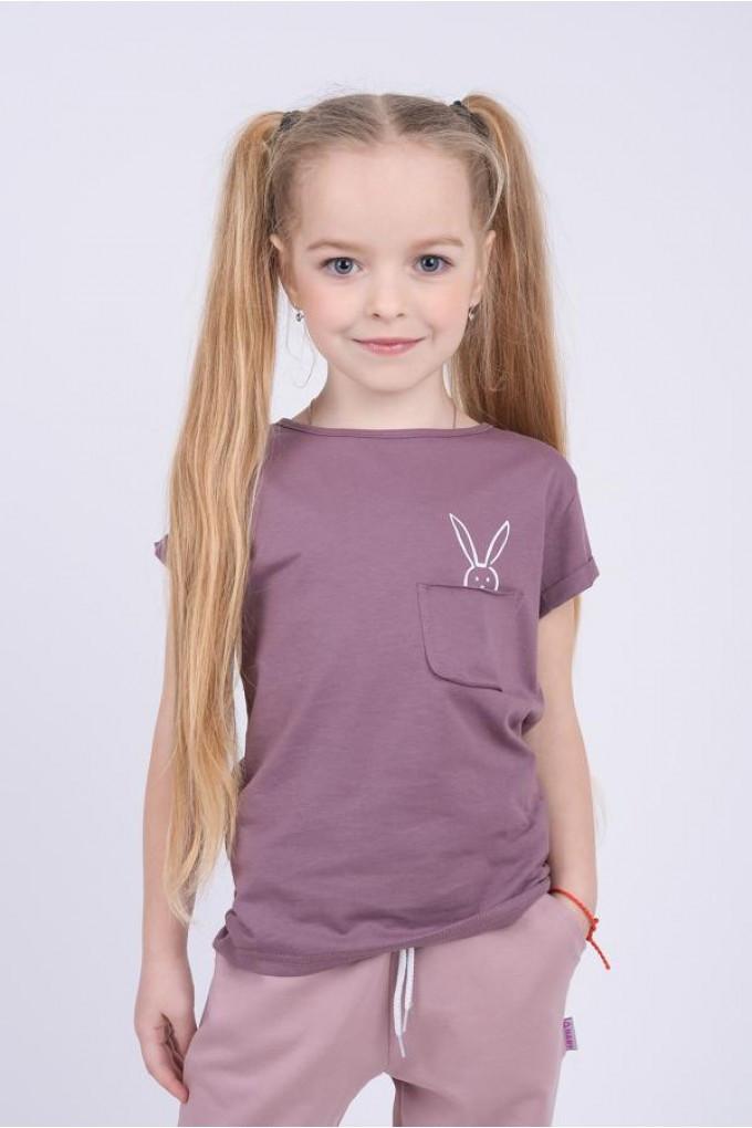 Стильная футболка для девочки с зайчиком и кармашком (104)