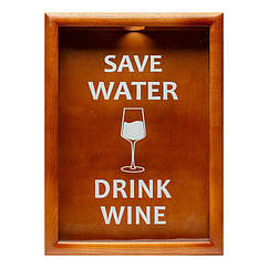 Копилка для винных пробок 38х28 см Save Water drink wine BST PRK-52 Орех, КОД: 1404182