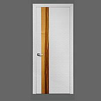 Мeжкомнатная дверь Casa Verdi Waves из МДФ белая матовая со вставкой дерево