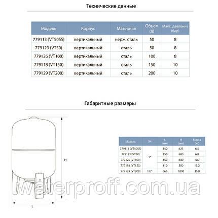 Гидроаккумулятор вертикальный 100л AQUATICA (779126), фото 2