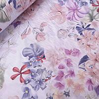 Ранфорс хлопок цветы акварельные пудровые и сиреневые с листьями, ш. 220 см
