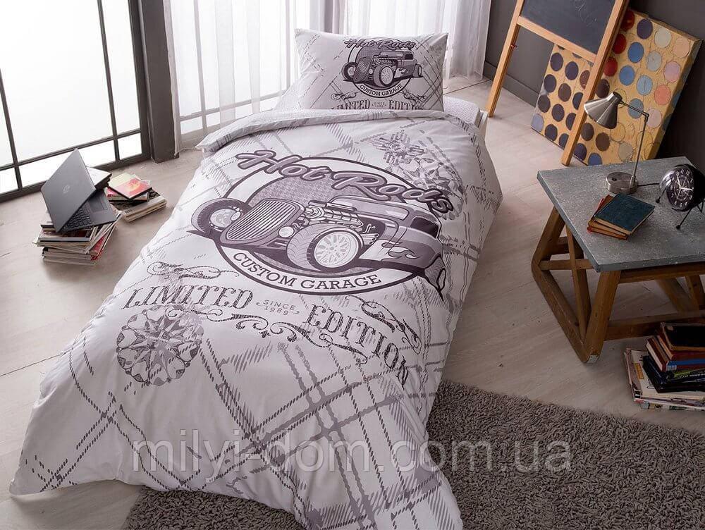 Набор подросткового постельного белья TAC Rods Grey (простынь на резинке)