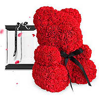 Мишка из Роз 40см в Подарочной Коробке / Мишка из цветов