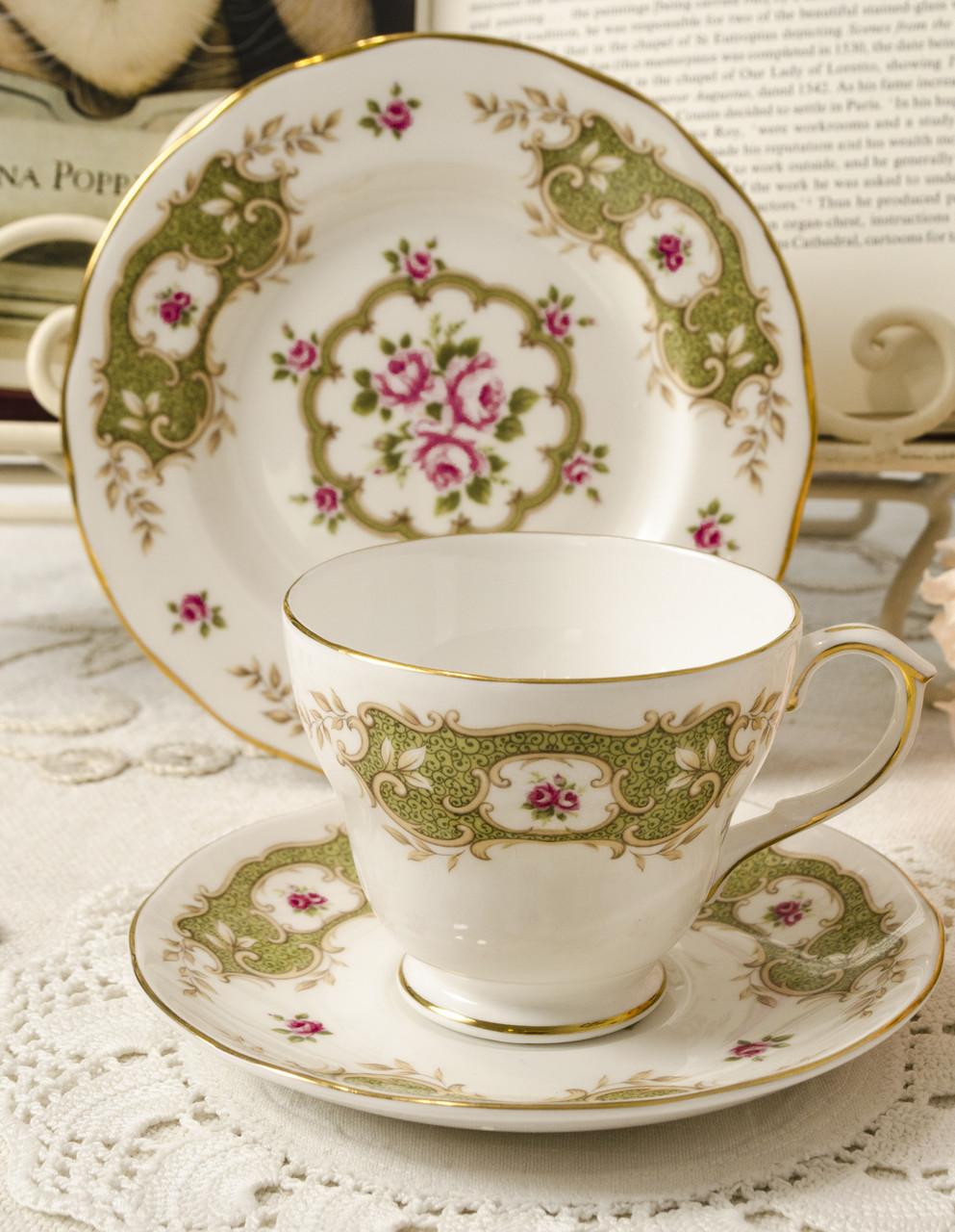 Английская фарфоровая чайная тройка, чашка, блюдце тарелка, костяной фарфор Англия, Duches