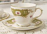 Английская фарфоровая чайная тройка, чашка, блюдце тарелка, костяной фарфор Англия, Duches, фото 3