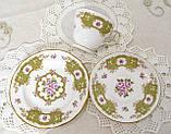Английская фарфоровая чайная тройка, чашка, блюдце тарелка, костяной фарфор Англия, Duches, фото 9