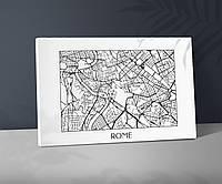 Рим карта Карта Рима Карта улиц Рима Рим и его карта Rome Карта Рима на хосте Печать на ткани Котоновый холст