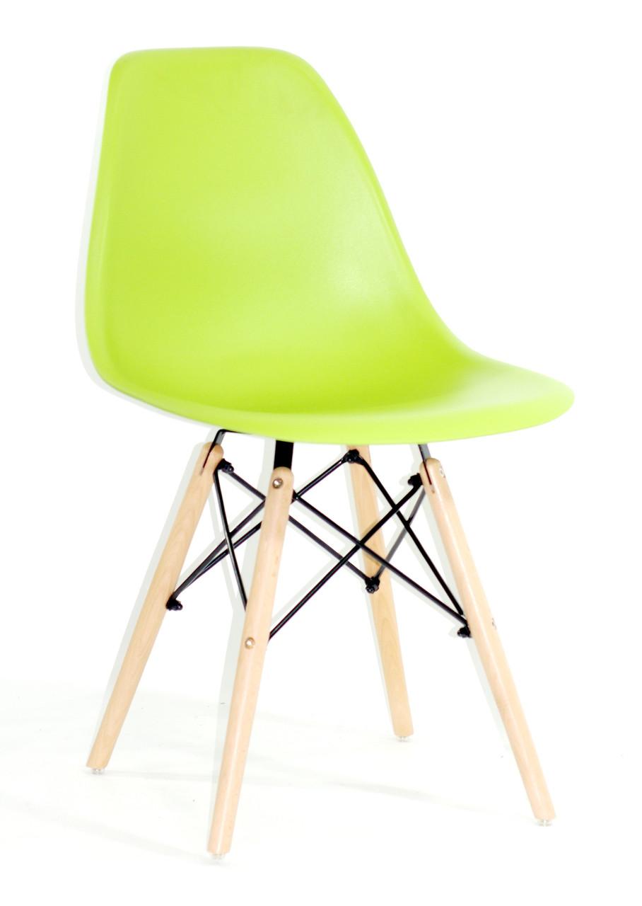 Стул из пластика Nik- N (Ник Н) зеленый 41 на деревянных ножках