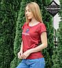 Футболка жіноча з відворотом Instagram (0928жр), Бордовий, фото 2