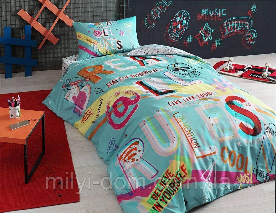 Набор подросткового постельного белья TAC Hashtag (простынь на резинке)