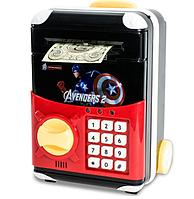 Копилка сейф, детский банкомат с кодовым замком CAPTAIN AMERICA, фото 1