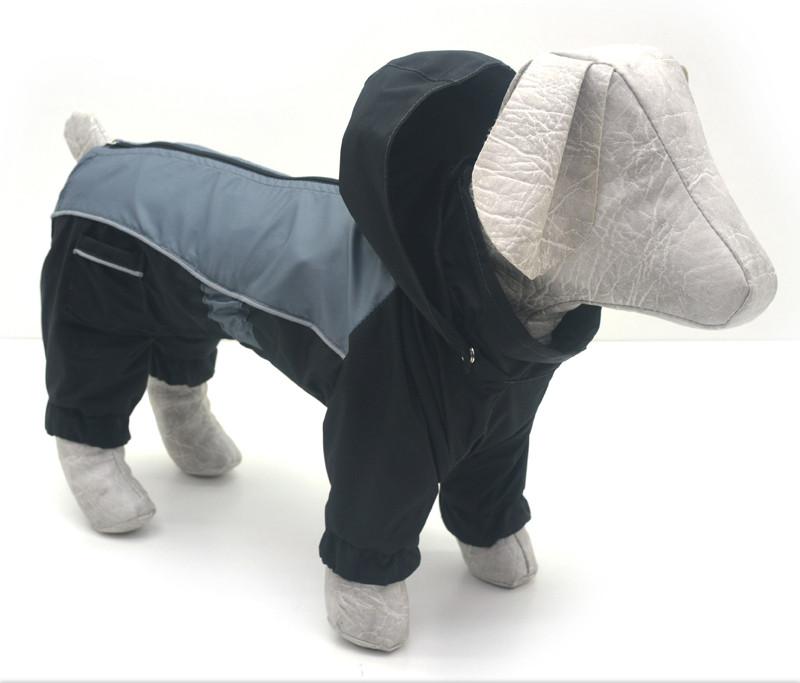 Комбинезон-дождевик с капюшоном для собак черный мини 21х27