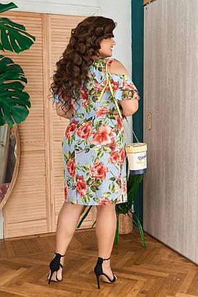 """Стильное женское платье с цветочным принтом, ткань """"Софт"""" 48, 50 размер 48, фото 2"""