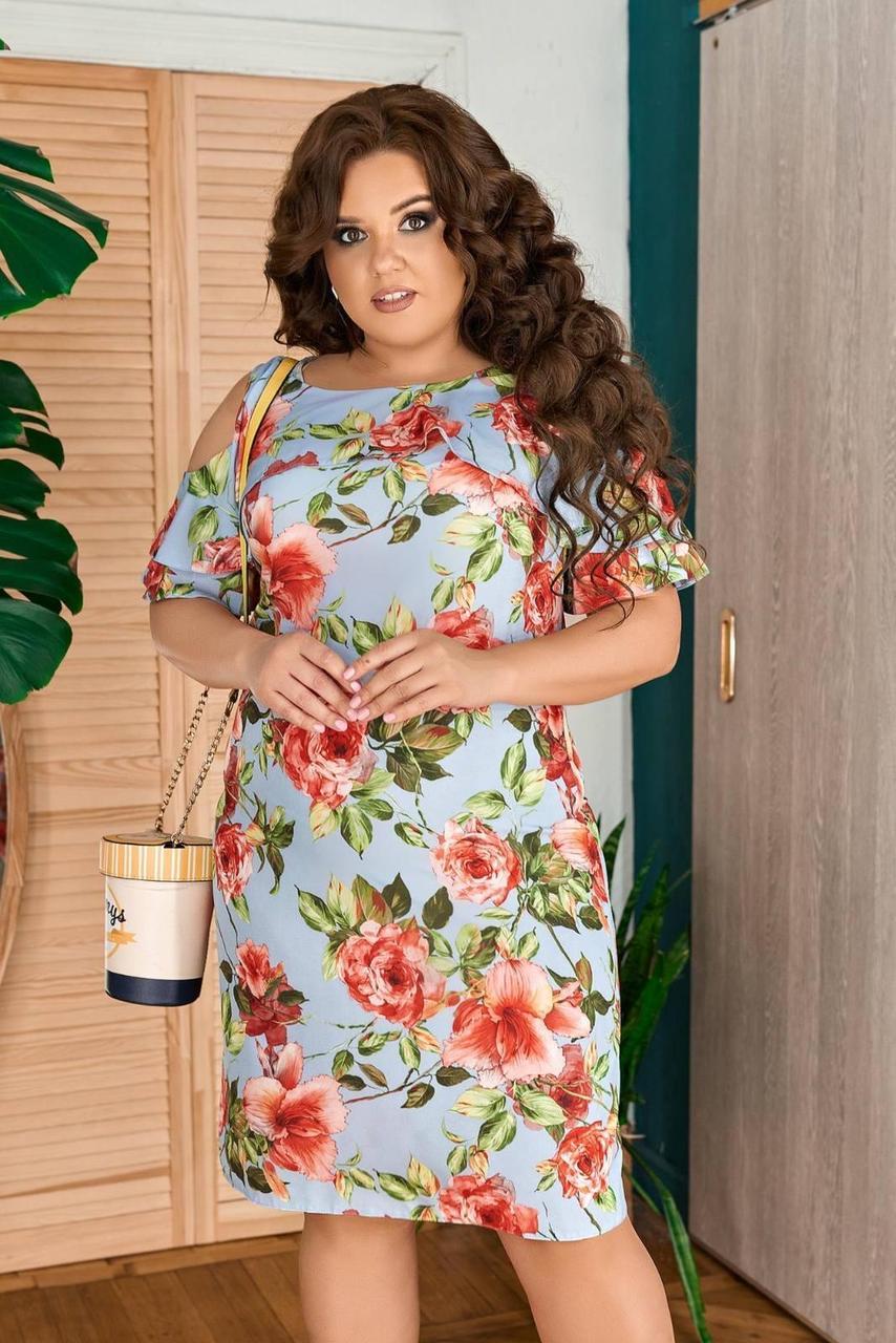 """Стильное женское платье с цветочным принтом, ткань """"Софт"""" 48, 50 размер 48"""