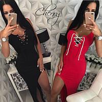Женское летнее длинное коктейльное платье майка черное красное серое шлейф с вырезом на шнуровке 42-44
