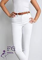 Білі облягаючі жіночі брюки з високою посадкою В 020/ 01, фото 1