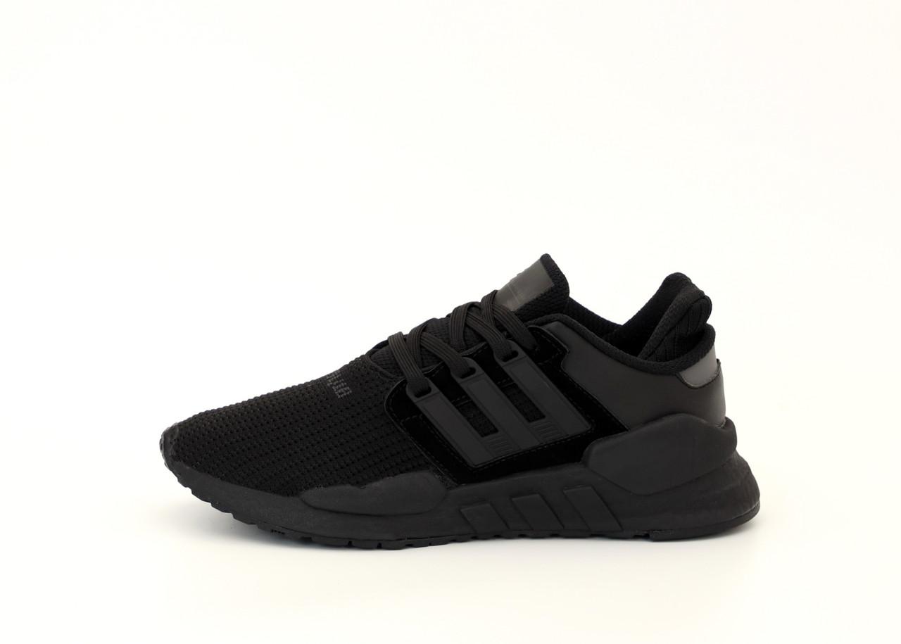 Мужские кроссовки Adidas EQT в стиле Адидас Эквипмент ЧЕРНЫЕ (Реплика ААА+)