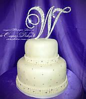 Топпер-ініціал у стразах для весільного торта (уточнюйте терміни) Т1, фото 1
