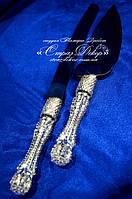 Приборы для торта (нож и лопатка) с ручками в стразах кристалл (уточняйте сроки) П2
