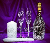 Набор свадебных аксессуаров в стразах (бокалы, шампанское, свечи)   (уточняйте сроки) Н1