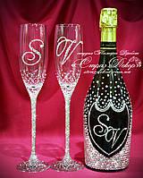 Набор свадебных аксессуаров в стразах (бокалы, шампанское) (уточняйте сроки) Н8
