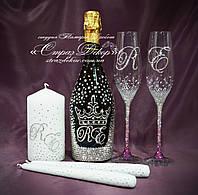 Набор свадебных аксессуаров в стразах (бокалы с цветными стразами, шампанское, свечи) уточняйте срок, фото 1