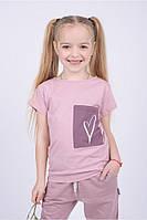 Стильная футболка для девочки Сердечко (104)