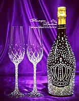 Набор свадебных аксессуаров в стразах (бокалы, шампанское)   (уточняйте сроки) Н26