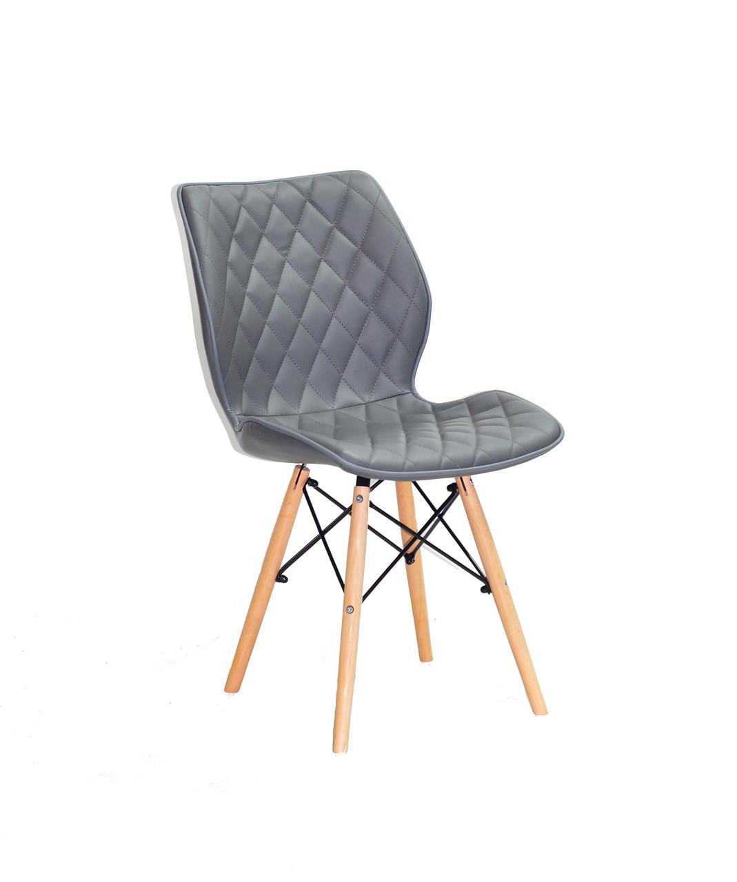 Обеденный стул Nolan ЭК (Нолан) серая экокожа на деревянных ногах с прутьями