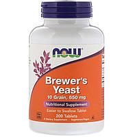 Now Foods, Пивные дрожжи, 650 мг, 200 таблеток