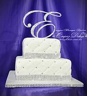 Топпер-инициал в стразах для свадебного торта (уточняйте сроки) Т11, фото 1