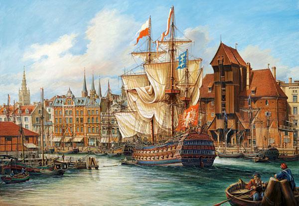 Пазлы Порт, копия Старого Гданьска на 1000 элементов