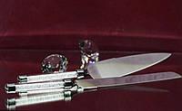 Приборы для торта (нож и лопатка) с ручками Сваровски внутри кристаллы (прозрачные хрустальные)