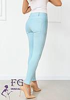 Голубые женские брюки тонкие на молнии В 020/ 02, фото 1