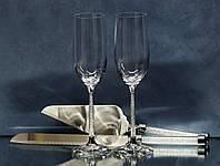 Набір весільних аксесуарів з кристалами (келихи, ніж, лопатка) Н102