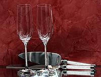 Набор свадебных аксессуаров с кристаллами (бокалы, нож и лопатка) Н103