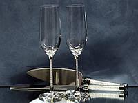 Набір весільних аксесуарів з кристалами (келихи, ніж, лопатка) Н104