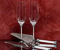 Набор свадебных аксессуаров с кристаллами (бокалы, нож и лопатка) Н105