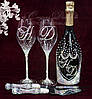 Набор свадебных аксессуаров в стразах (бокалы, шампанское, нож с лопаткой для торта) (уточняйте срок