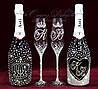 Набір весільних аксесуарів в стразах (бокали, шампанське 2 бут.) (уточнюйте терміни) Н114
