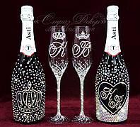 Набір весільних аксесуарів в стразах (бокали, шампанське 2 бут.) (уточнюйте терміни) Н114, фото 1