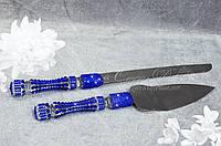 Приборы для торта (нож и лопатка) с ручками в стразах Сапфир (уточняйте сроки) П10