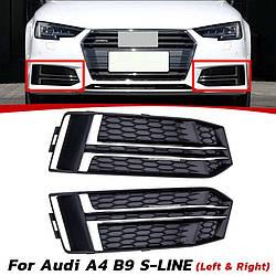 Боковые решетки бампера Audi A4 B9 S-line (2016+) стиль RS (черные + хром)