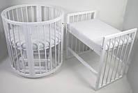 Детская кроватка Кроватка Круглая Каприз Бук 8 в 1, маятник, колеса, матрас, Белая