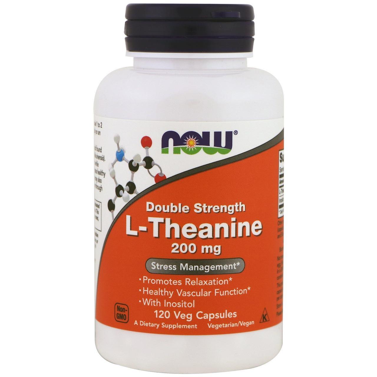Now Foods, L-теанин, двойная сила, 200 мг, 120 растительных капсул