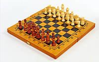 Брак! Шахматы, шашки, нарды 3 в 1 бамбуковые, фигуры-дерево, р-р 35x35см. (СПО 341-162 (брак 1)