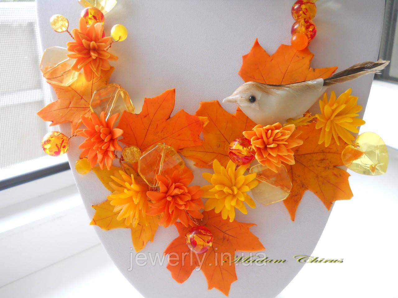 Необычное украшение с птичкой Осень